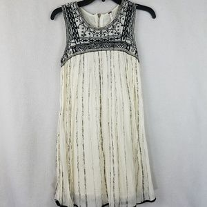 FREE PEOPLE Beaded Sleeveless Cotton Cream dress